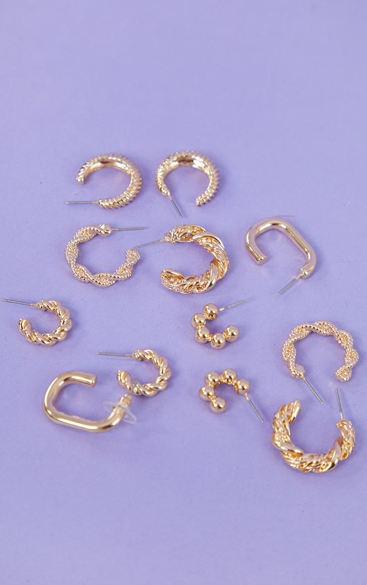 Gold Assorted Ribbed 6 Pack Hoop Earrings 1