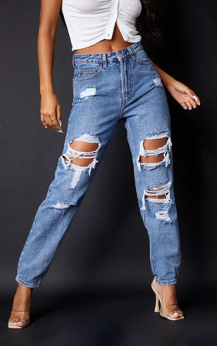 PRETTYLITTLETHING Mid Blue Ripped Mom Jeans 2