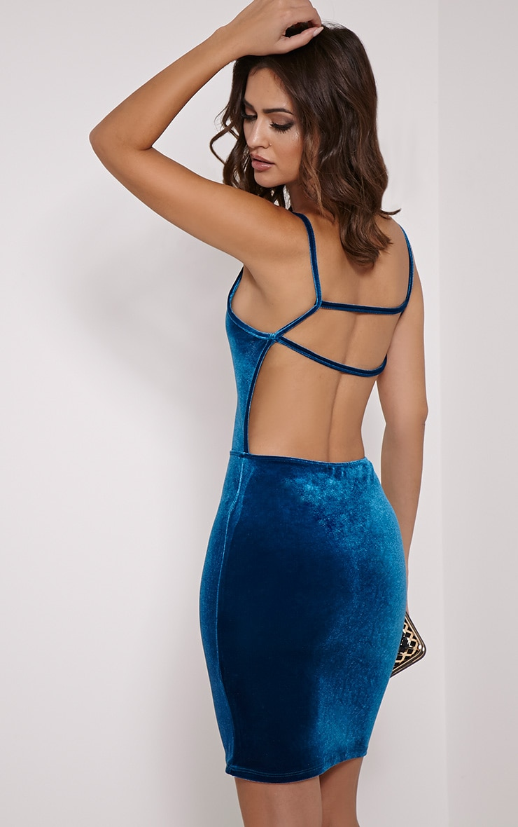 Zindy Turquoise Velvet Backless Dress 1