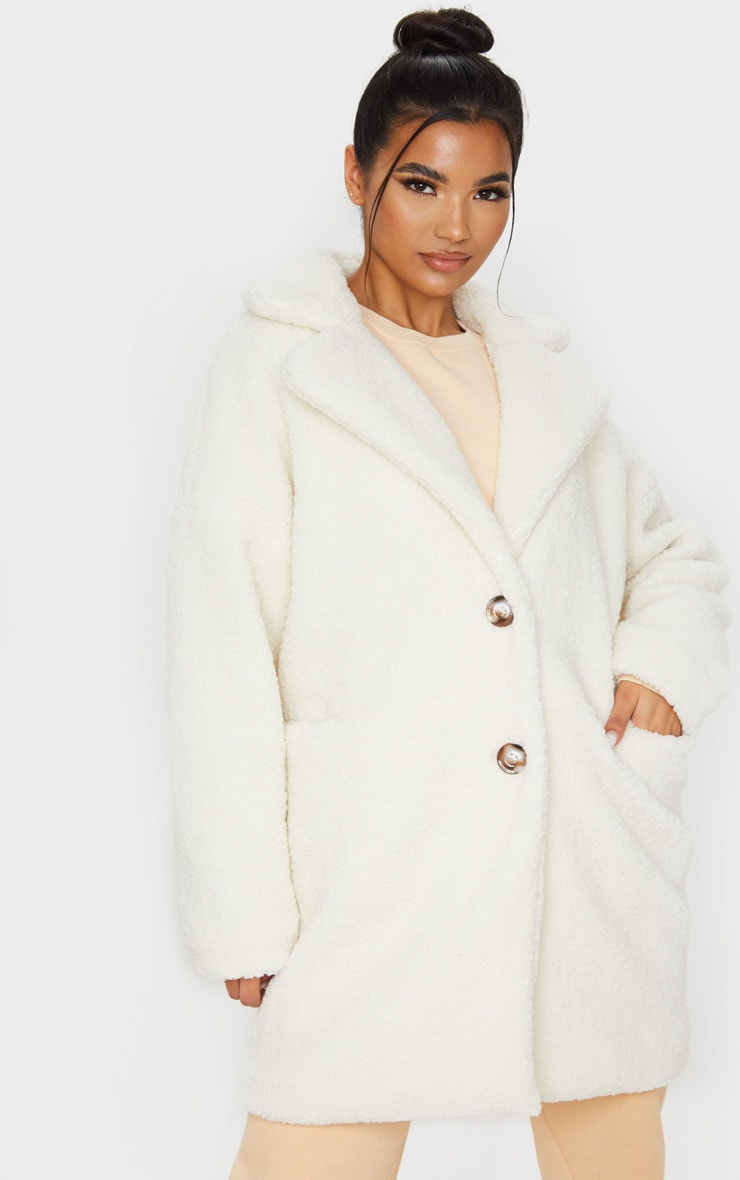 Cream Midi Teddy Borg Coat 5