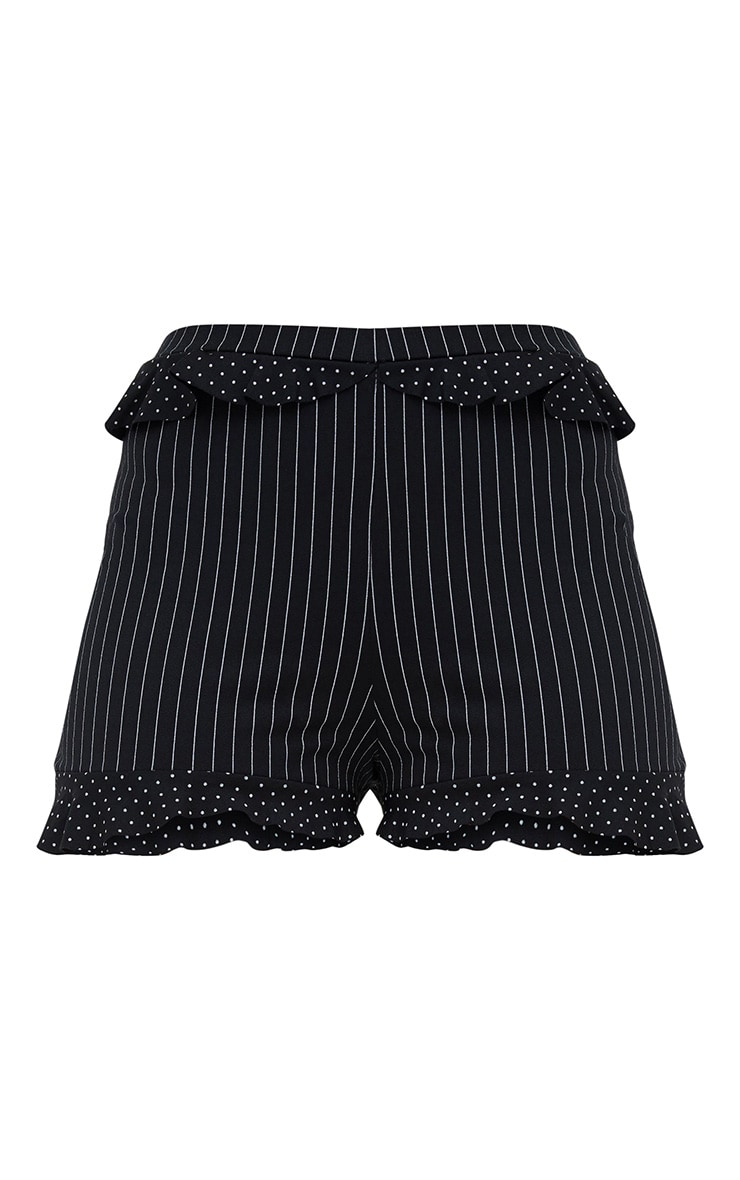 Black Contrast Frill Stripe Shorts 3