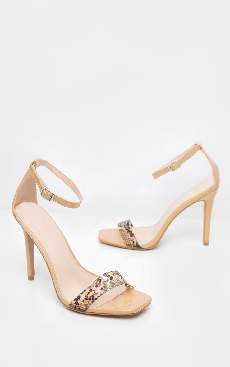 Nude Square Toe Snake Strap Sandal 3