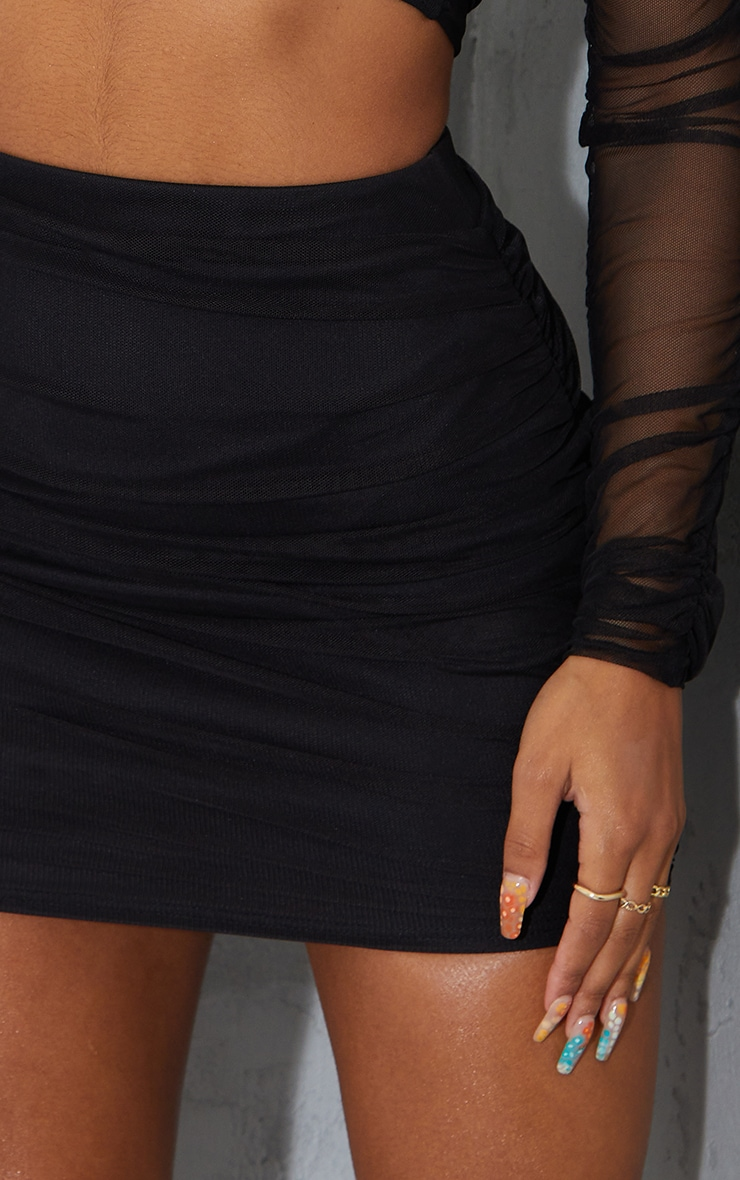 Black Mesh Ruched Side Skirt 5