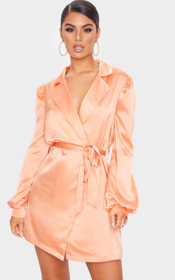 Orange Satin Long Balloon Sleeve Blazer Dress 1