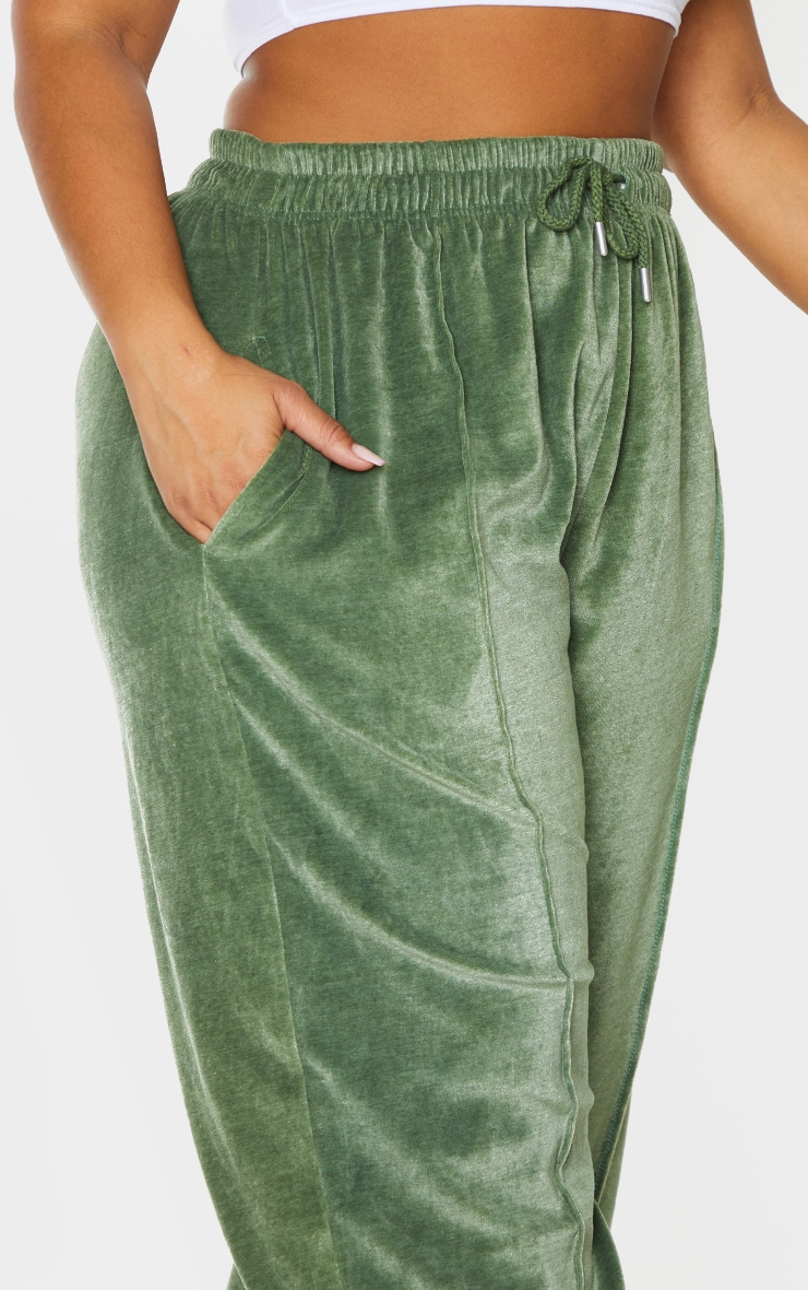 Plus Olive Towelling Wide Leg Joggers 4