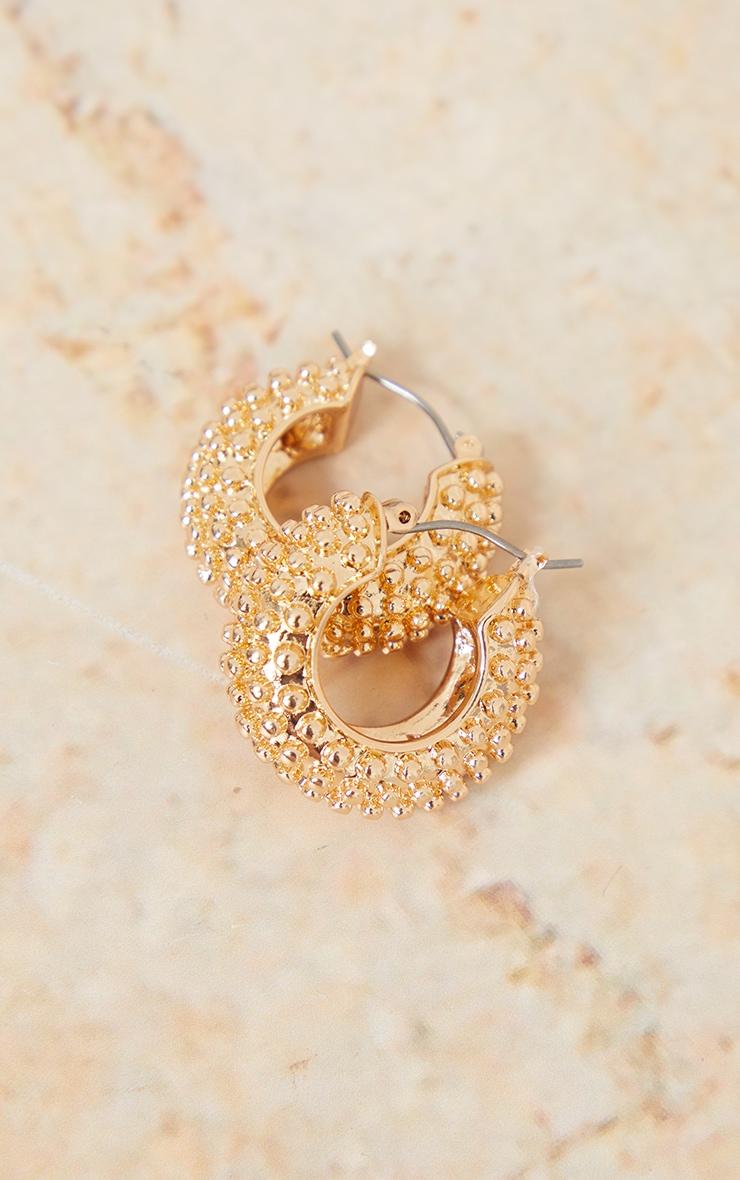 Gold Mini Chunky Beaded Texture Hoop Earrings 2