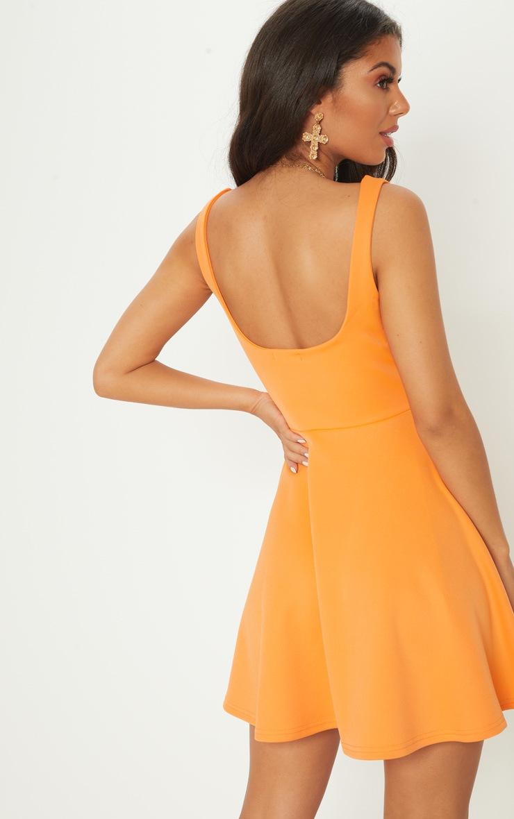 Tangerine Scuba Square Neck Skater Dress 2