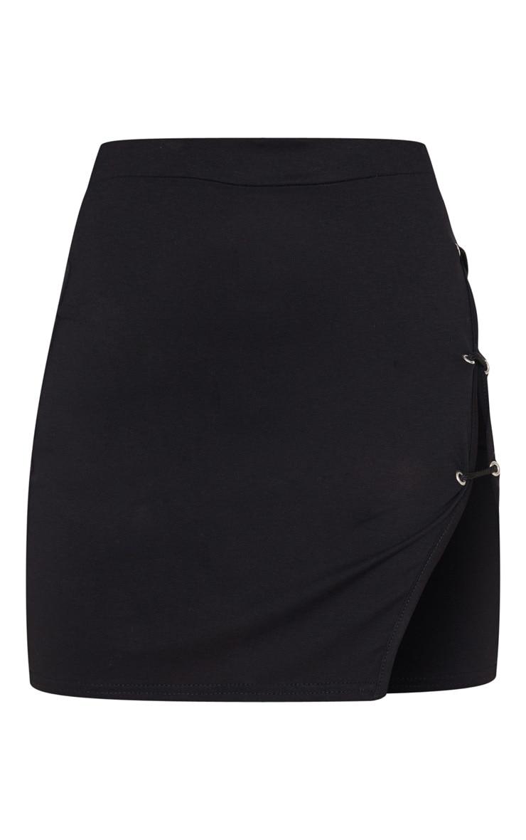 Petite Black Oriental Mini Skirt 3