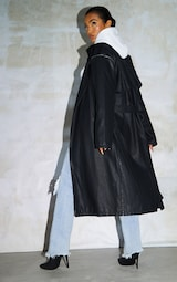 Black Faux Leather Removable Sleeves Trench 2