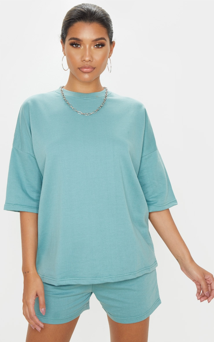 Dusty Turquoise Oversized Sweat T-shirt 1