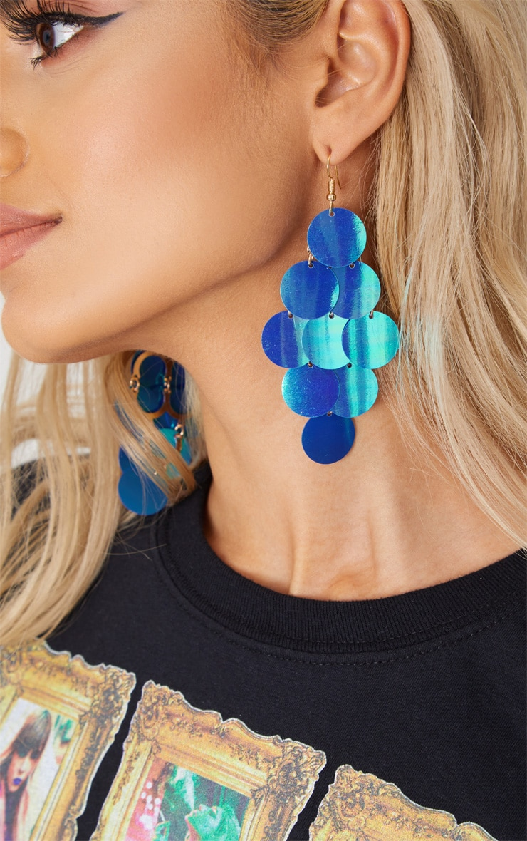 Blue Sequin Drop Earrings 1