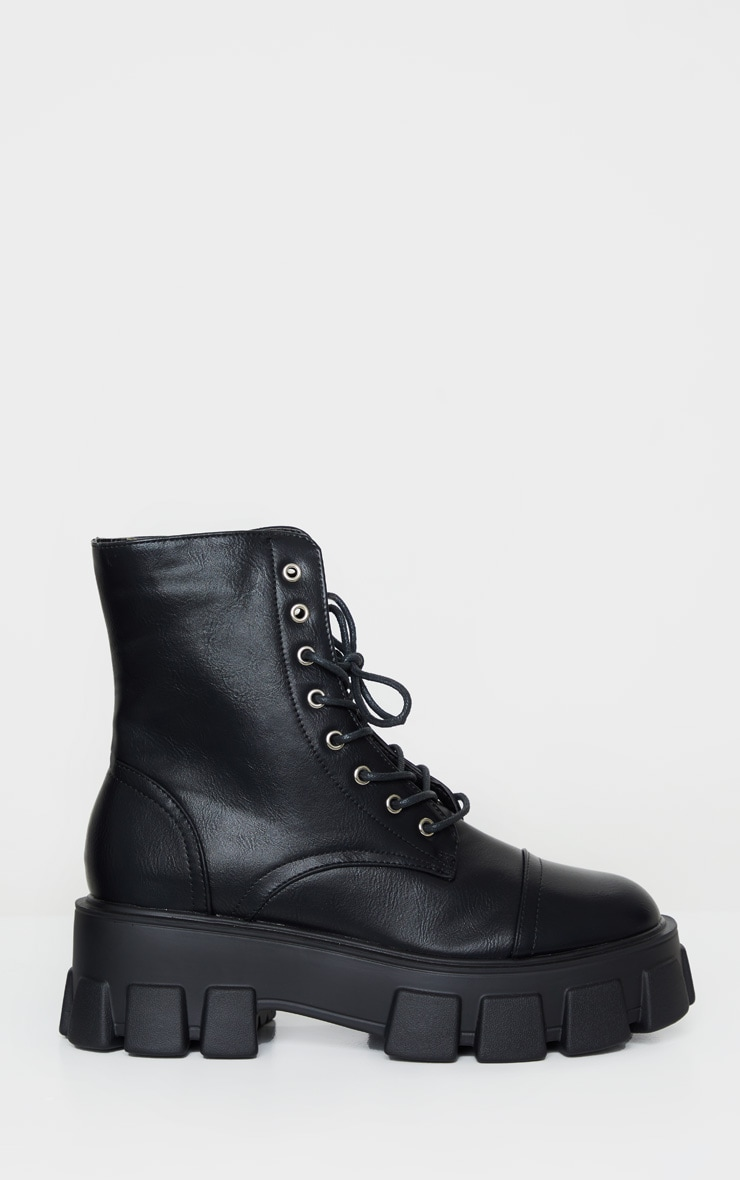 Black Lace Up Extreme Chunky Hiker Boot 5