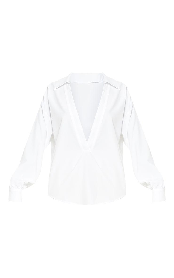 Petite White V Plunge Blouse 3