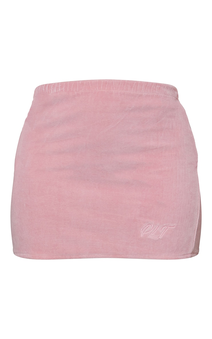 PRETTYLITTLETHING Shape Baby Pink Embroidered Bodycon Skirt 6