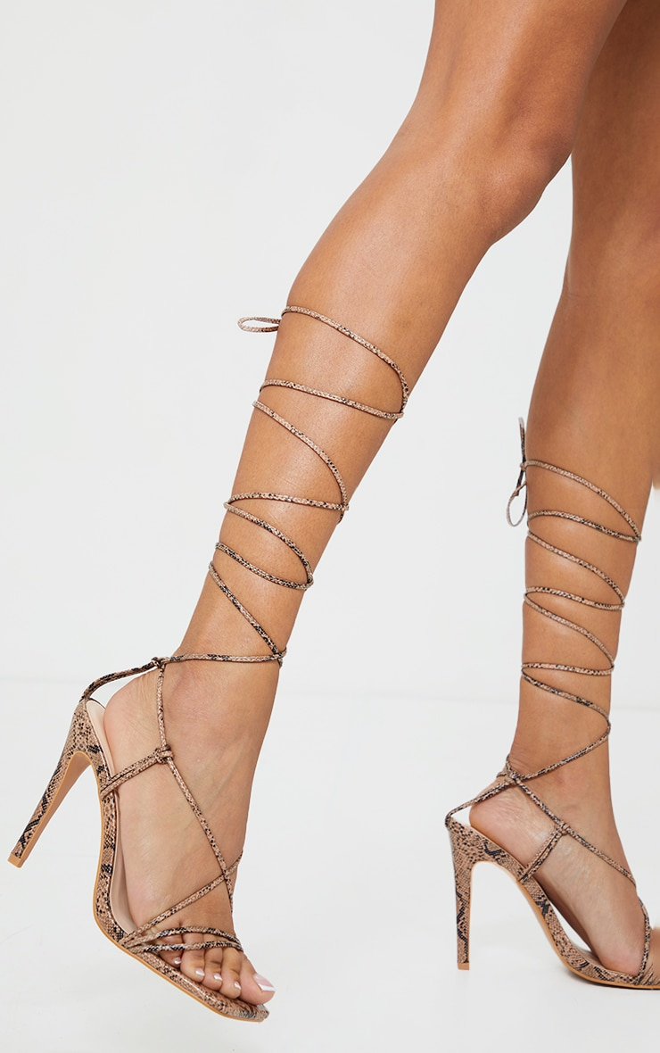 Nude Pu Barely There Lace Up High Heels 1
