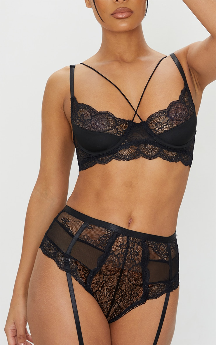 Black Strappy Lace Underwired Suspender Lingerie Set 4