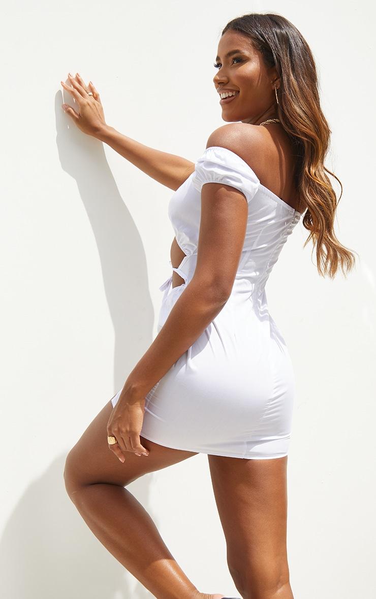 White Woven Bardot Cut Out Tie Detail Bodycon Dress 2