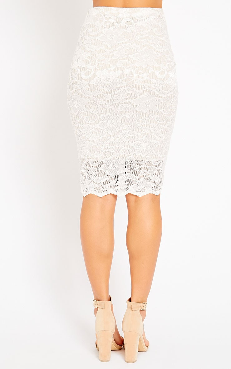 Rez Cream Lace Scallop Edge Midi Skirt 2