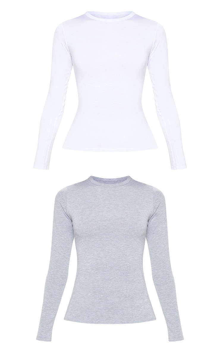 Basic White & Grey 2 Pack Long Sleeve Fitted T Shirt 3