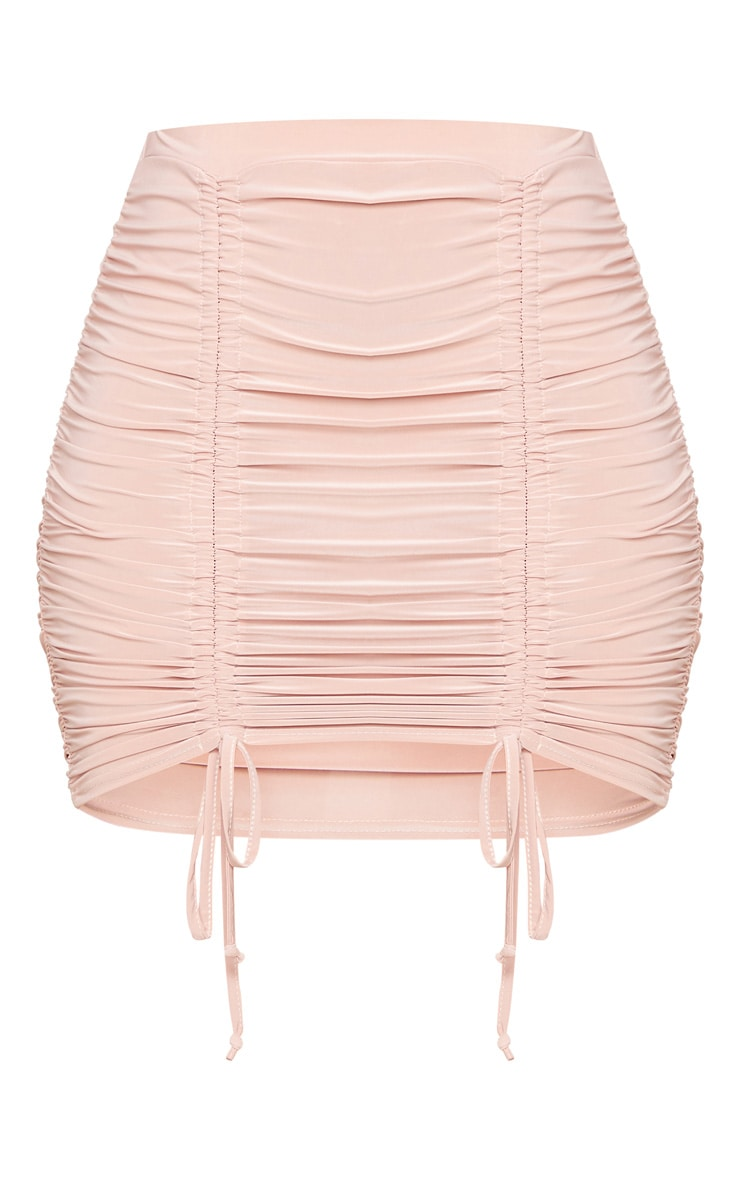 Blush Slinky Ruched Front Double Tie Mini Skirt 6
