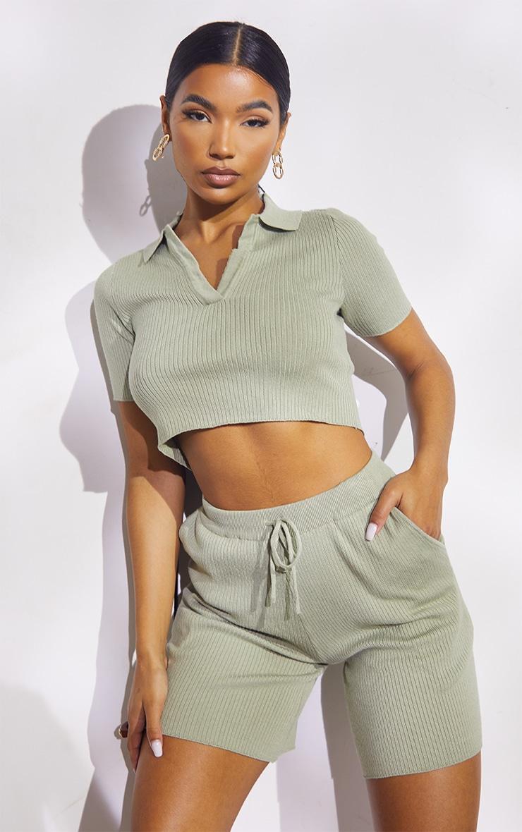 Sage Green Premium Ribbed Knitted Collar Detail Short Set 1