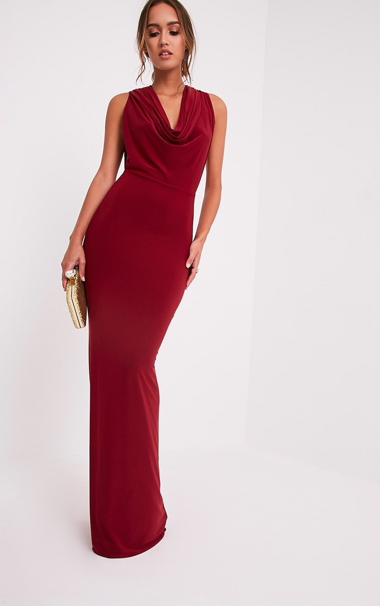 Sharnia Burgundy Slinky Cowl Front Maxi Dress 1