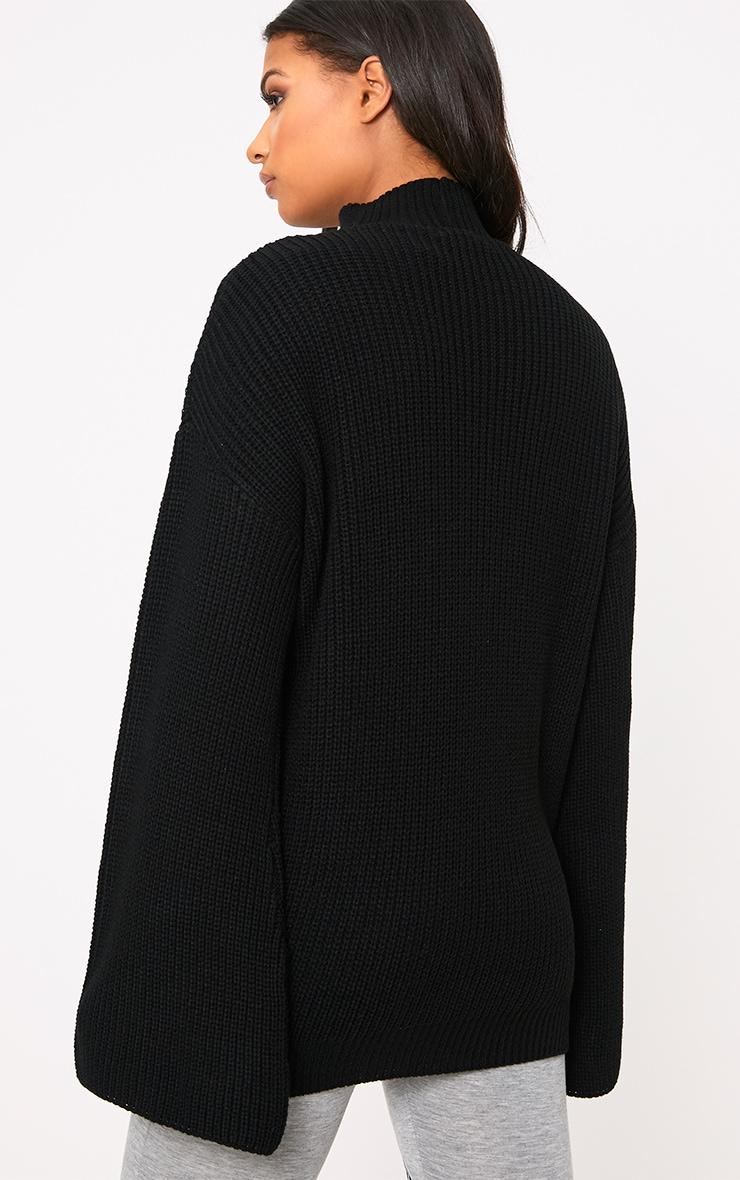 Jennah Black Tie Choker Knit Jumper 2