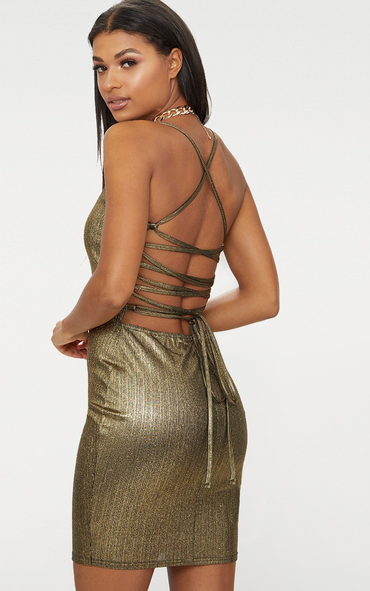 Gold Metallic Strappy Back Bodycon Dress  1