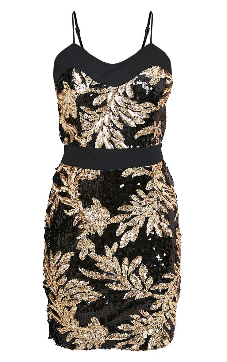 Camillia Black Strappy Sequin Bodycon Dress 2
