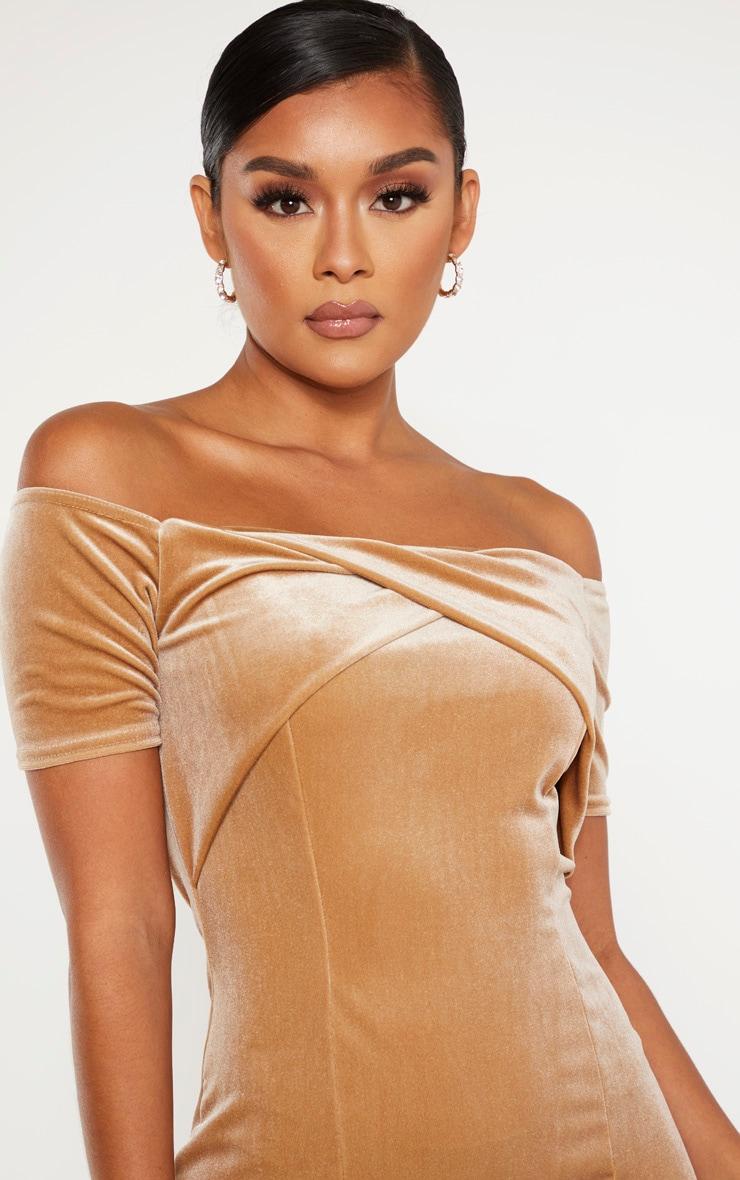 Champagne Velvet Twist Front Short Sleeve Bodycon Dress 5