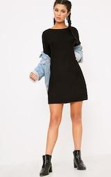 02f20994 Kannah Black Ribbed Roll Sleeve Oversized T Shirt Dress image 4
