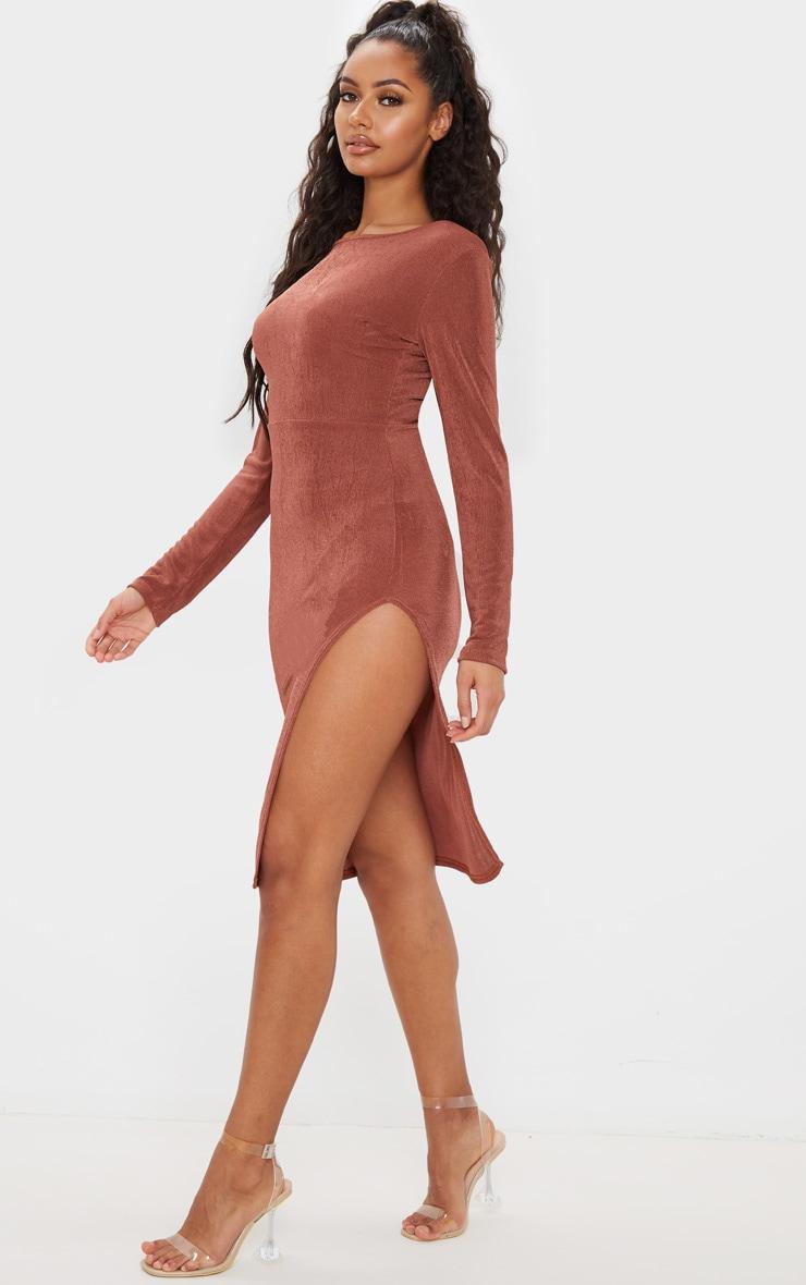 Chocolate Brown Textured Slinky Long Sleeve Cross Back Midi Dress 2