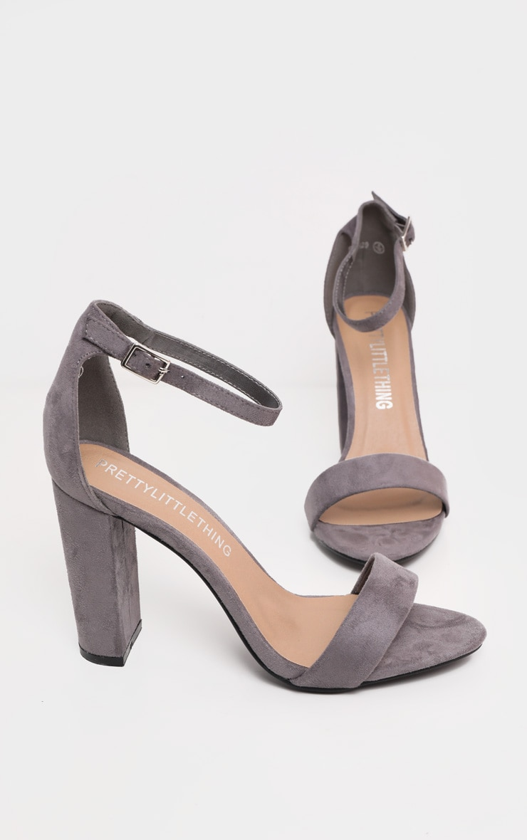 May Grey Faux Suede Block Heeled Sandals 3