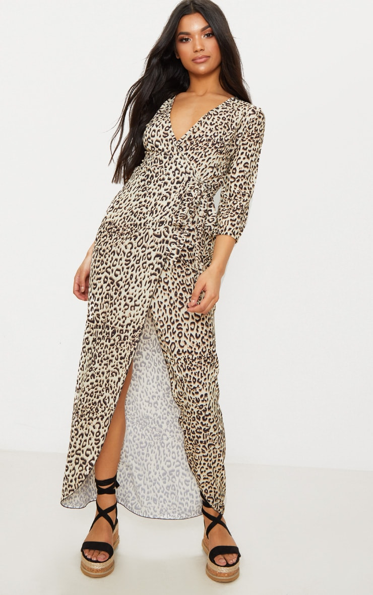 Leopard Print Wrap Front Maxi Dress 1