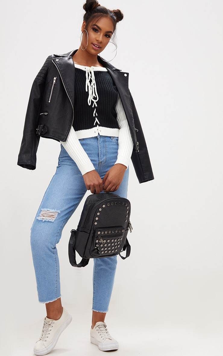 Black Lace Up Cropped Knitted Jumper  4