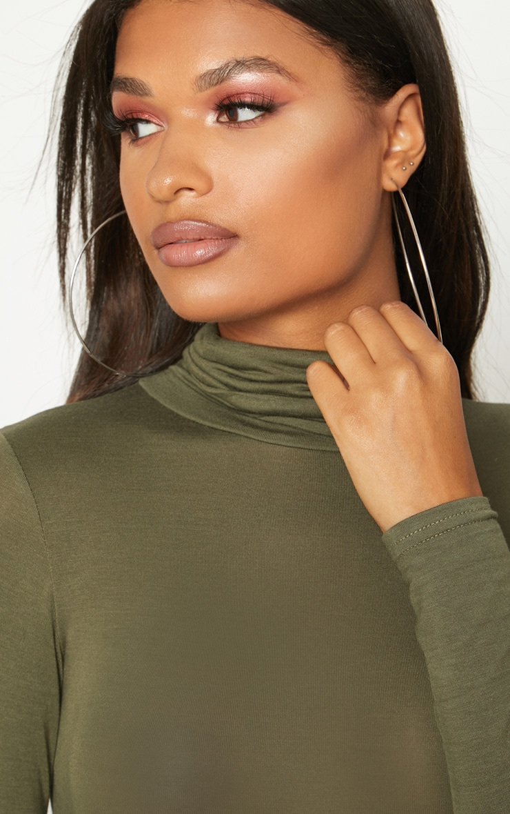Khaki Roll Neck Long Sleeve Bodysuit 6