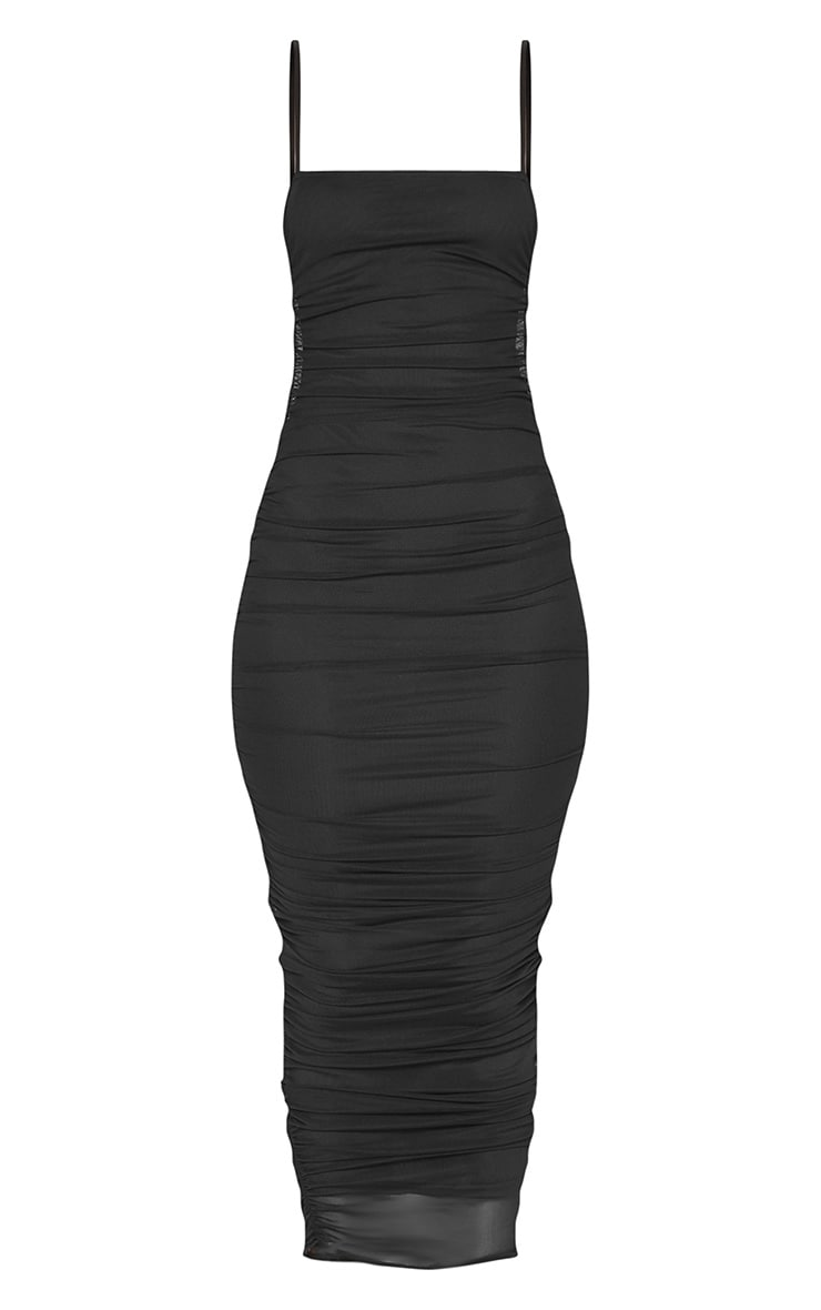 Black Strappy Mesh Ruched Midaxi Dress 3