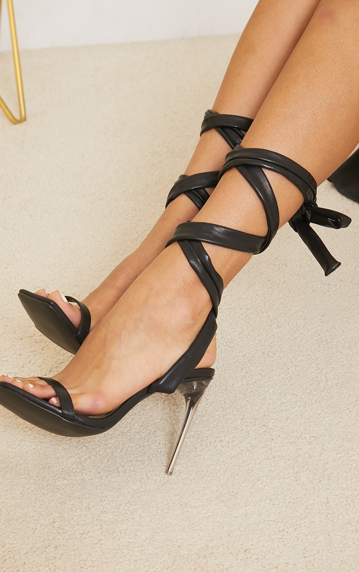 Black Pu Chunky Lace Up Clear High Heels 2