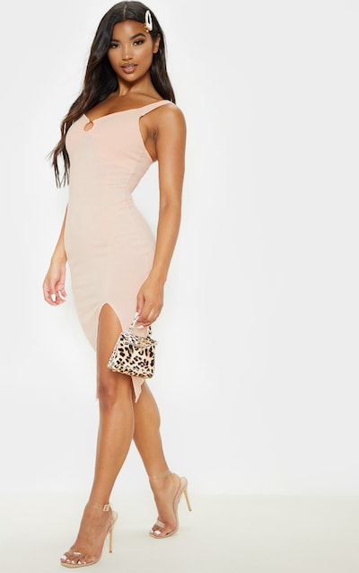 3228a0975 Nude Ribbed Ring Detail Sleeveless Midi Dress. More colours available