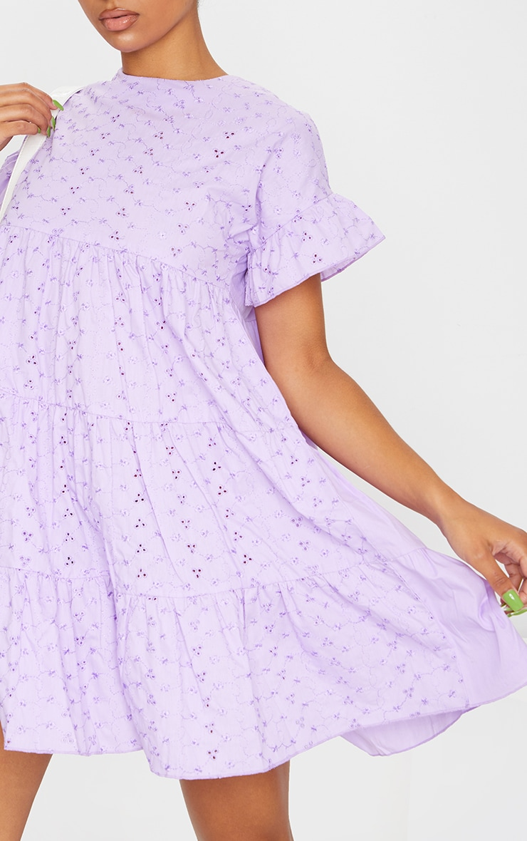Lilac Broderie Anglaise Smock Dress 4