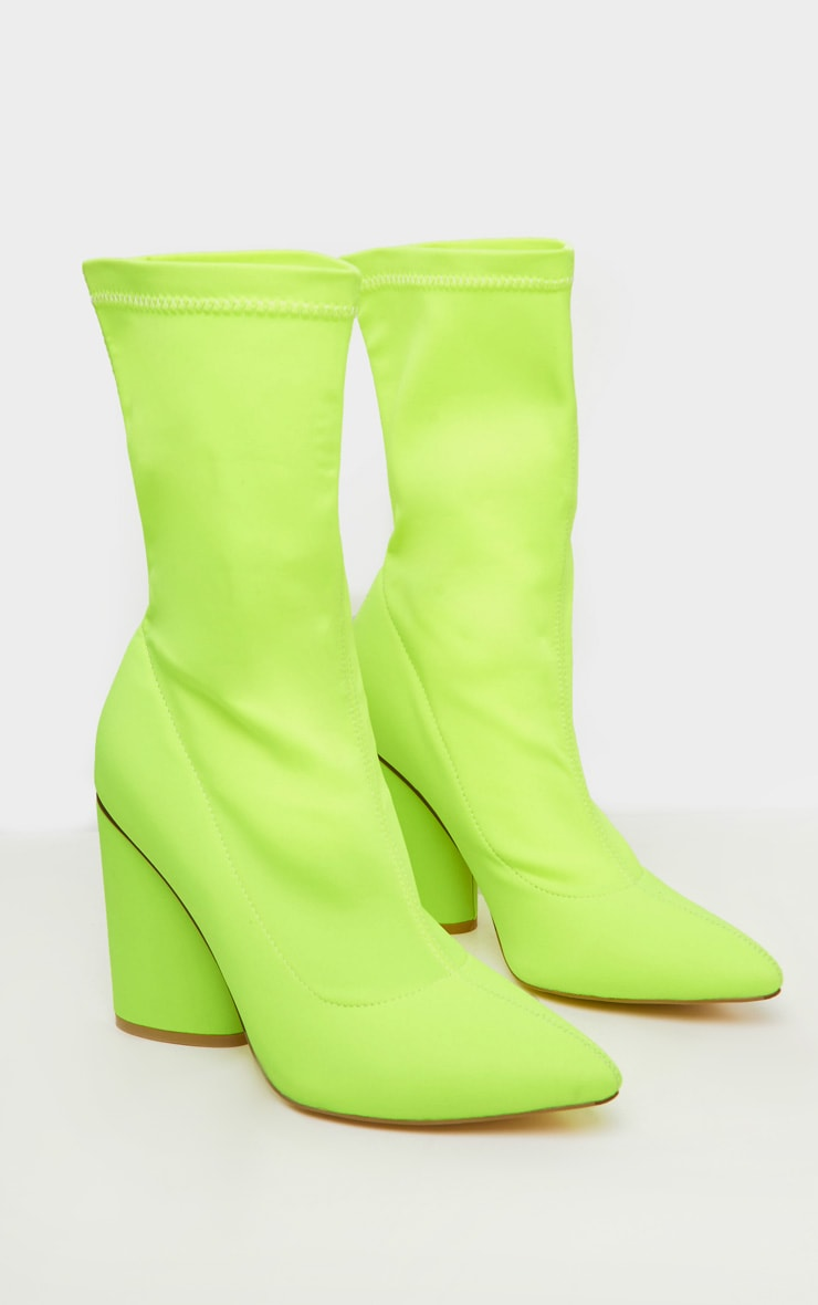 Neon Yellow Chunky Block Heel Sock Boot 3