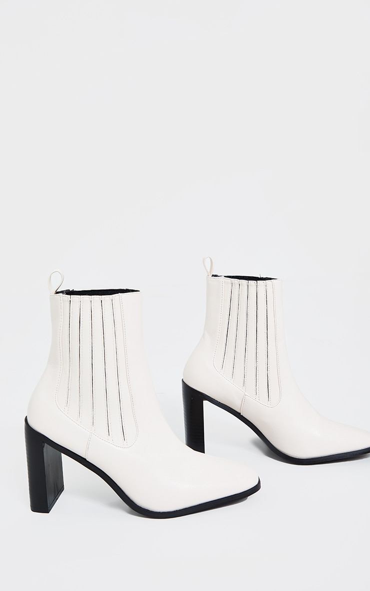 Cream High Flat Block Heel Covered Chelsea Boot 4