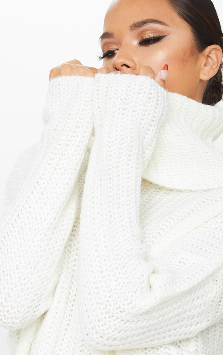 Cream Soft Knit Roll Neck Sweater 5