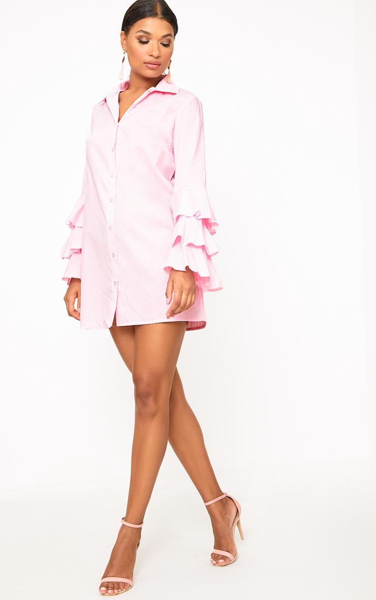 Candy Pink Triple Frill Sleeve Shirt Dress  4