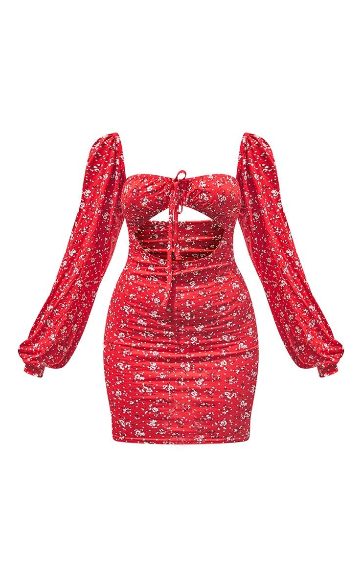 Petite Red Bardot Ditsy Floral Cut Out Mini Dress 5