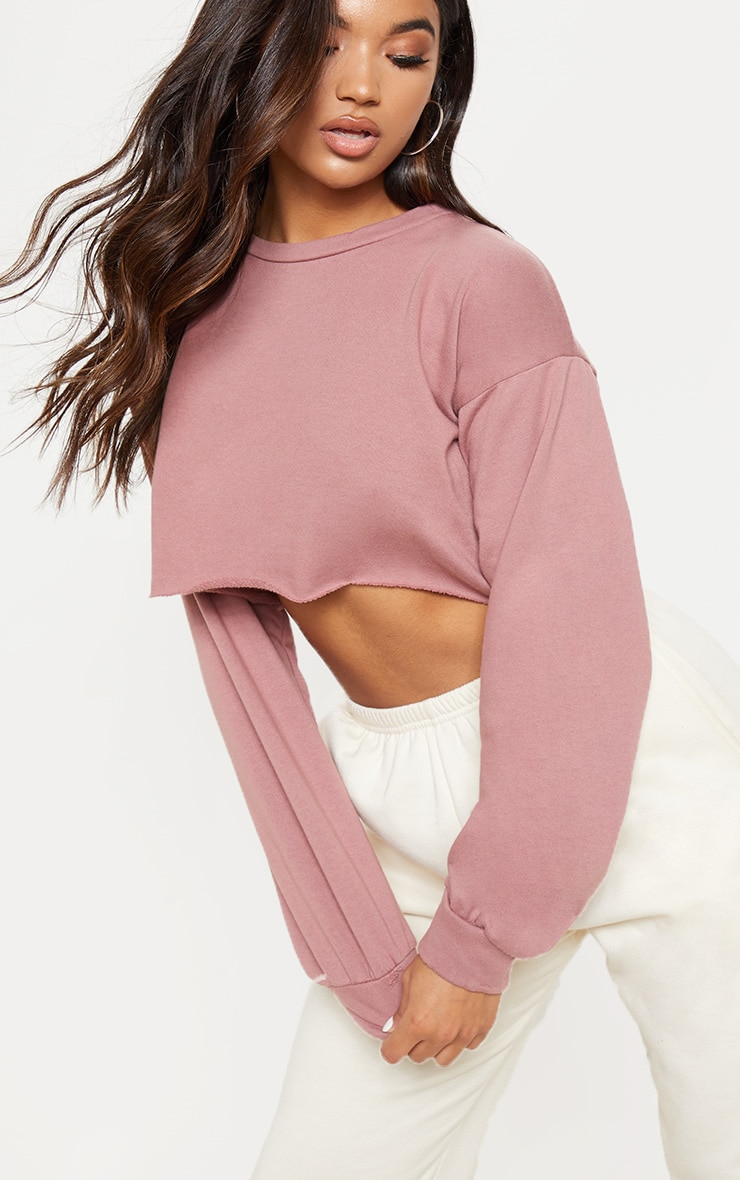 Mauve Cut Off Crop Longsleeve Sweater  5