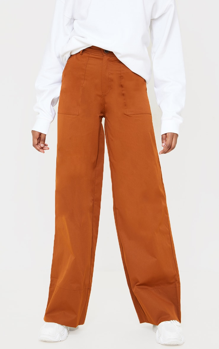Chocolate Woven Belted Wide Leg Trousers 2