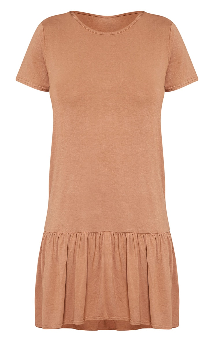 Tania Camel Drop Hem T shirt Dress 3