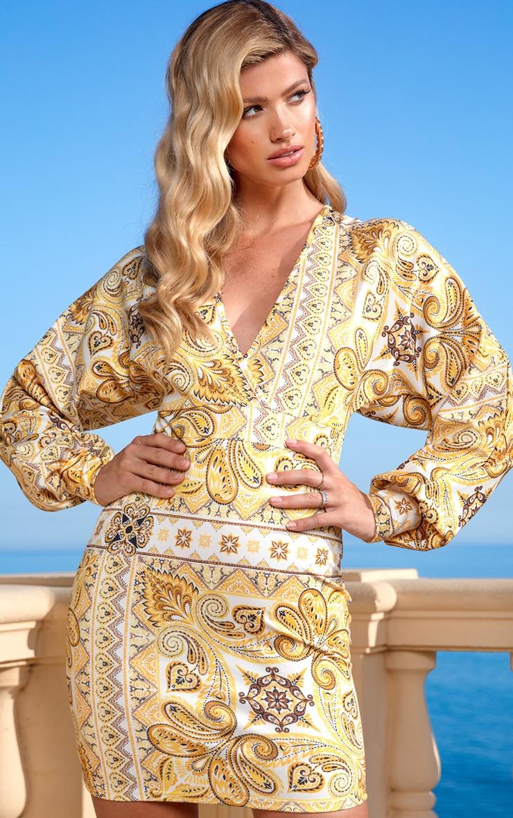 Yellow Tile Print Puff Sleeve Bodycon Dress 3