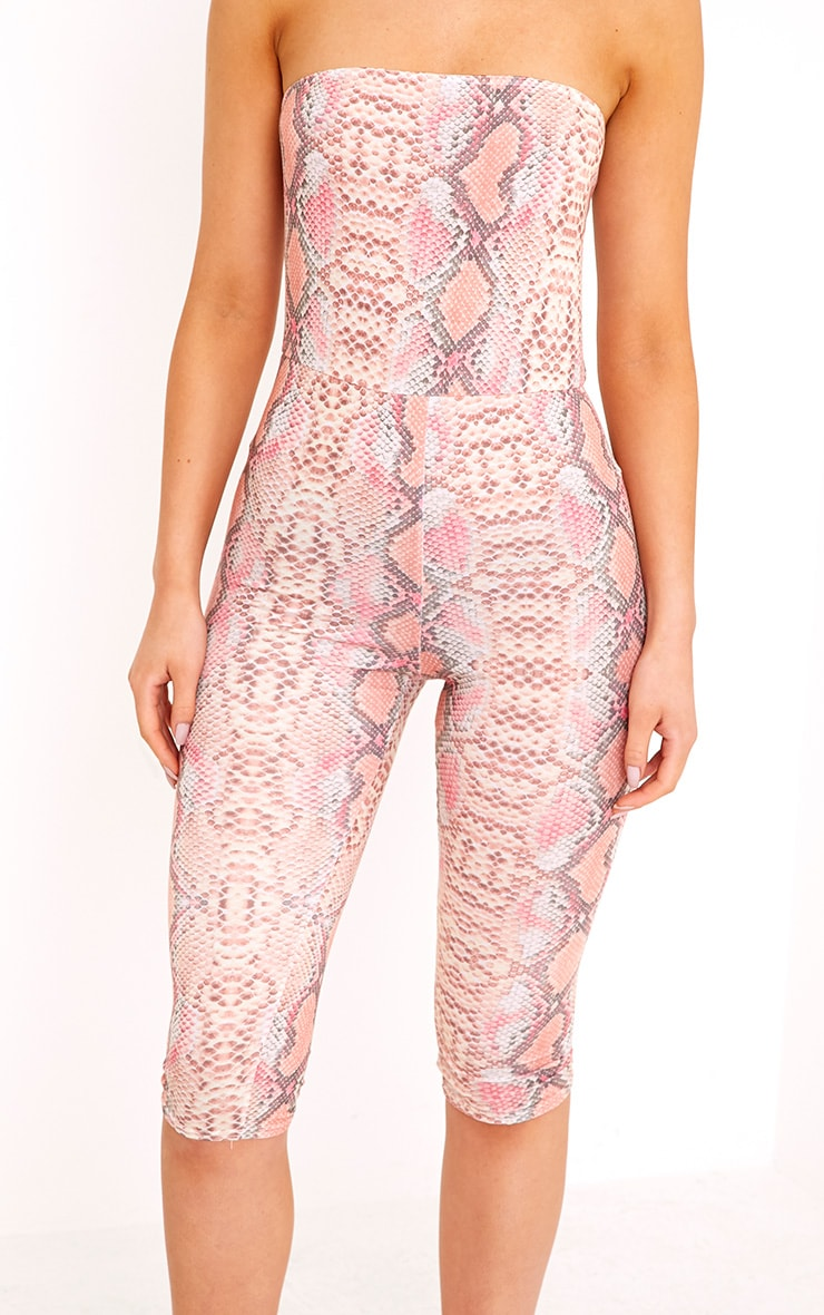 Kelli Orange Snake Print Bandeau Cropped Jumpsuit 5